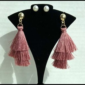 2 Pairs Mauve Pink Tassel Pearl Stud Earrings